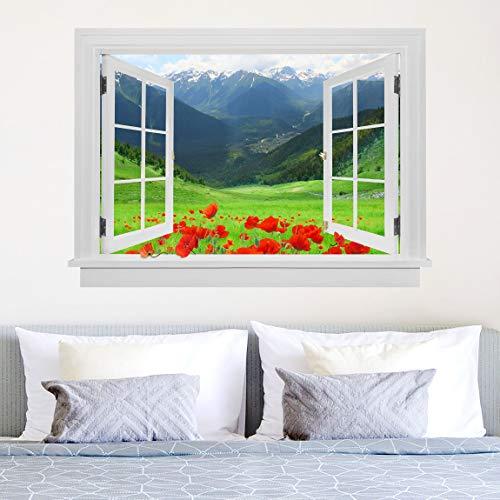 Bilderwelten Adesivo murale Alpi E Le Montagne 75x100cm Finestra Aperta su Campo di Papaveri