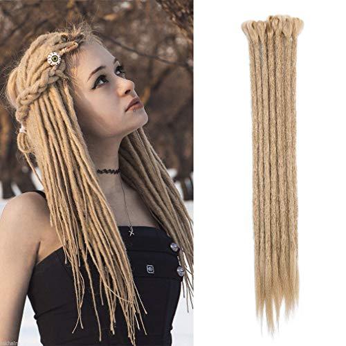 Elailite Dreads Extension Treccine Capelli Finti Sintetici Dreadlock Treccia Rasta da Donna Uomo Braids Lunghi 50cm, Confezione da 10, Biondo Cenere