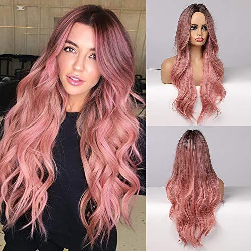 Esmee sintetico parrucche Ombre rosa lungo ondulato capelli parrucche per le donne resistente al calore fibra Cosplay parrucche 24 pollici