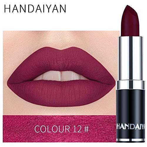 zroven HANDAIYAN Professional Matte 12 colori trucco rossetto labbra rossetto impermeabile lunga durata pigmento velluto opaco rossetto labbra opaco (12#)