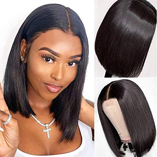 PORSMEER Parrucca Donna piccolo Lace Front Wigs Parrucca Bob Corta Diritta Parrucca Glueless con Attaccatura dei Capelli in Pizzo Naturale 10 pollici