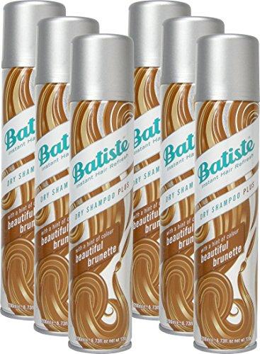 Shampoo a secco Batiste Dry Shampoo Beautiful Brunette con un tocco di colore per capelli bruenettes, fresca capelli per tutti i tipi di capelli, confezione da (6X 200ML)