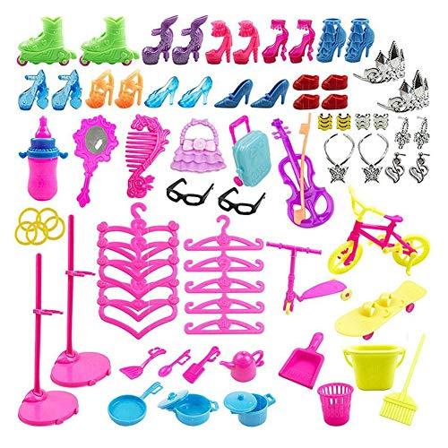 78 pezzi di accessori per bambole Set per bambola da 11,5 pollici Include mini set da gioco decorativo Diverse occasioni Scarpe Necessità quotidiane Utensili da cucina Appendini Giocattoli