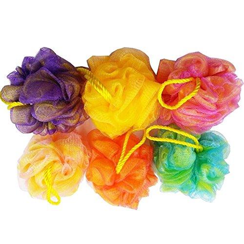 Set di 6 spugne per doccia in rete di alta qualità / esfoliante per il corpo / scrubber da bagno, colori assortiti, (50 g / pz)
