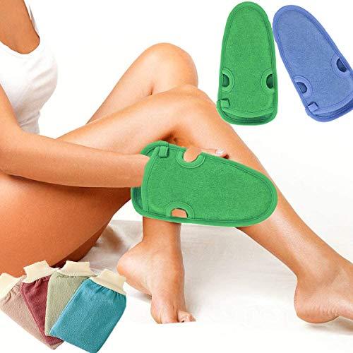 Binjor 6Pcs Guanto Esfoliante peeling corpo viso gambe spugna doccia per peeling scrub corpo da Bagno in spugna cotone da massaggio loofah muffola(blu,verde)