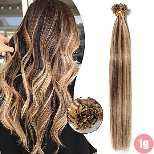 Elailite Extension Capelli Veri Cheratina 1 Grammo 50 Ciocche Balayage 100% Remy Human Hair U Tip Nail Keratin Capelli Lisci (40cm 50g #4/27 Marrone Cioccolato/Biondo Scuro)