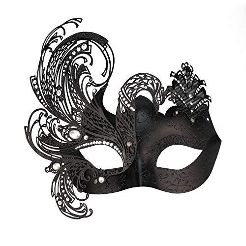 Misteriosa veneziana farfalla lucido farfalla Lady Masquerade Halloween Mardi Gras Partito Maschera Black with butterfly