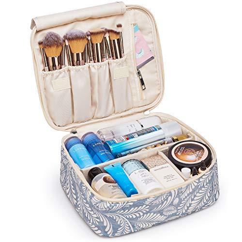 Beauty case da viaggio, grande, organizer per trucchi, per donne e ragazze (motivo: blu con foglie)