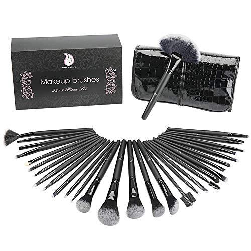 Start Makers Set di 32 pennelli per Make-Up con custodia in Cuoio di Lusso e Spugna Blender. Kit di Pennelli professionali per il Make-Up, Pacchetto Perfetto anche come idea regalo, Trucco Kabuki