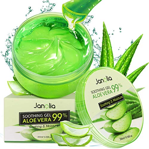 Janolia Gel di Aloe Vera Antiossidante, 300 ml Gel di Bellezza Maschera Naturale per il viso, Lenitiva e Idratante per Viso, Corpo, Scottature, Pelle Secca, Cura per Tutti i Tipi di Pelle