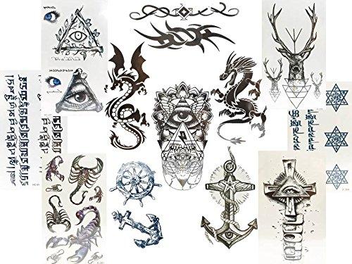 12piccoli modelli di TATUAGGI FINTI DA UOMO, DI COLORE NERO: drago, illuminati, ancora, tribale e altri ancora