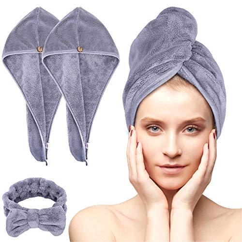 Acksonse Turban - Set di 3 asciugamani turbanti con bottone, asciugatura rapida, per donne, in microfibra, per testa e capelli lunghi (grigio)