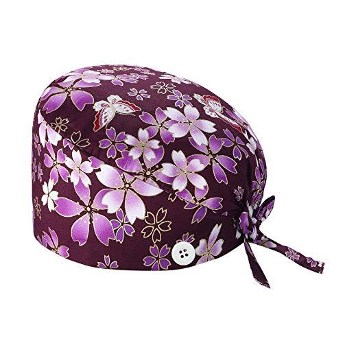 XIAOQING Cappello Turbante Cappello Bouffant Stampato Copricapo Bouffant Regolabile Cappello Unisex con Fascia Sudore per Lavoratori di Bellezza Forniture Cura Personale (C)
