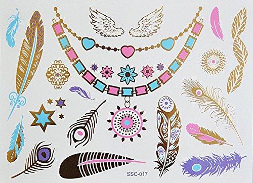 Extra Grande Tartaruga PIUMA COLLANA Tatuaggi metallici Tatuaggi in flashTemporanei SC017 Adesivi per corpo