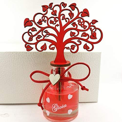 Bomboniere profumatore albero della vita con scatola ideali per cresima, laurea, matrimonio (albero della vita con scatola, (B) con nastro, sacchetto e 5 confetti al cioccolato)