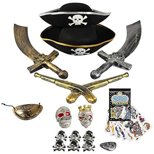 com-four® Set di Accessori da 15 Pezzi per Costumi da Pirata - Ideale per carnevali, Feste a Tema ed Eventi in Costume