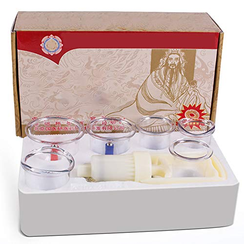 6 Pezzi Coppettazione Massaggio Vacuum, massaggio cinese set di coppettazione Coppette Sottovuoto, per Anticellulite Viso Cervicale Mal di Schiena con Pompa