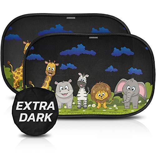 Tendine parasole auto bambini CARAMAZ extra scuro con protezione UV certificata - Parasole bambini accessori auto, 2 pezzi 51x31cm, tende da sole per esterno, protezione solare raggi UV animali