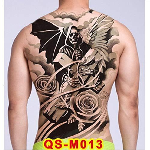 Tatuaggio Temporaneo,Corpo Di Trasferimento Adesivi Full Torna Grande Demone Cranio Croce Tatuaggio Gotico Per Le Donne Uomini Bambini Braccio Gamba Torace Collo Cintura Tattoo Impermeabile Non-Toxic