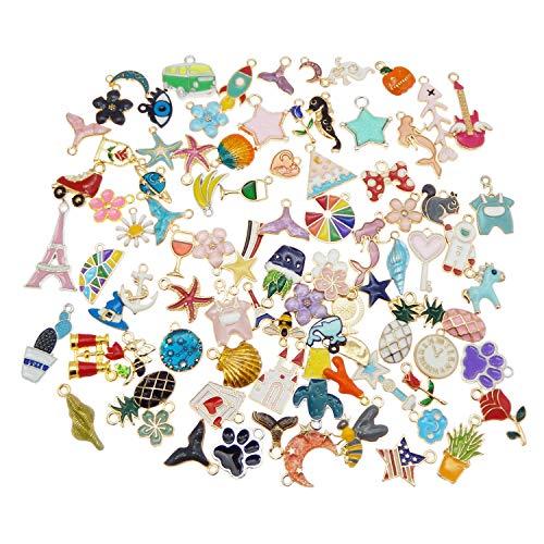 Confezione da 40 pezzi, colori assortiti smaltati, in metallo, per gioielli, braccialetti, orecchini, collane, ciondoli, accessori per lavori artigianali, 1 cm - 3 cm