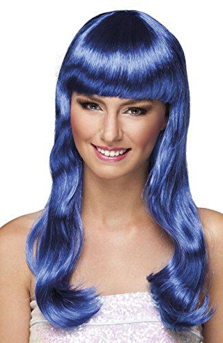 Boland 85876 - Chique Parrucca Lunga con Frangetta, Blu