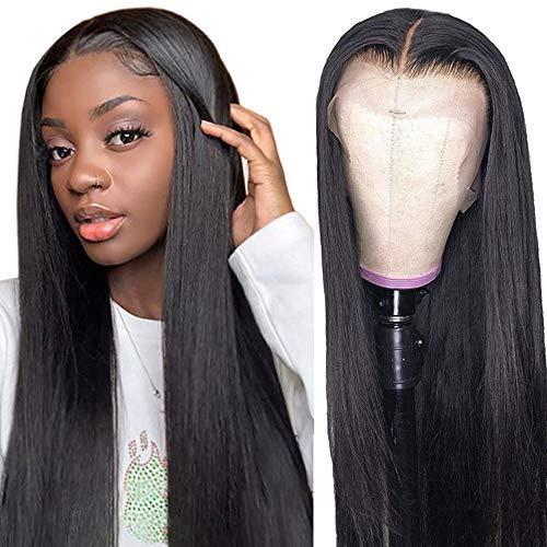 Parrucca donna capelli veri umani lunghi T part lace front wig parrucca nera liscia human hair wigs straight 26inch(66cm)