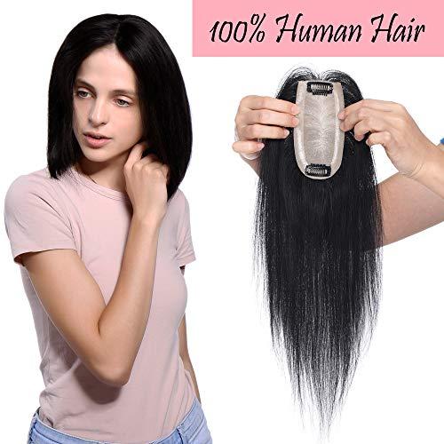 Hair Topper Donna Extension Capelli Veri Toupet Silk Base 6 * 13cm 100% Remy Human Hair Lisci Invisibile Naturale Fascia Unica (30cm 30g #1 Jet Nero)