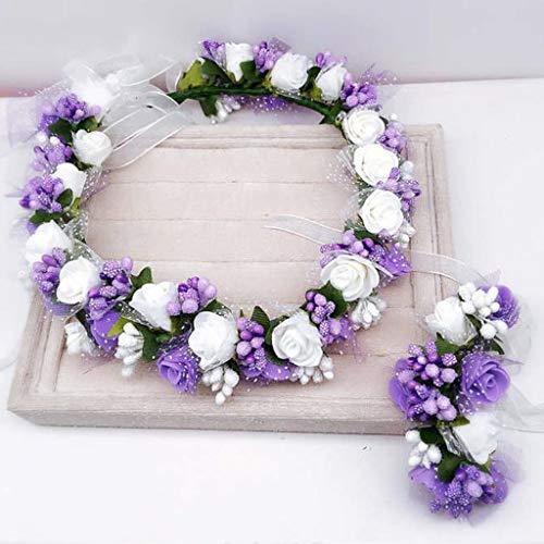 BASSK - Fascia floreale per capelli, coroncina per matrimonio, festa del polso