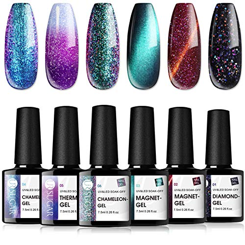 UR SUGAR 7,5ml Smalto Semipermanente Gel Kit, Camaleonte Gel, Giada Magnetica Gel, Cat Eye Gel, Cambia Colore Temperatura Gel,Glitterato Cielo Stellato Gel, 6 Bottiglie