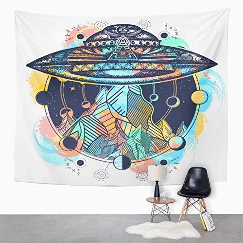 RTEAQ Arazzo Mandala Watercolor Space UFO Nave e Montagne Tatuaggio di Colore Aliens Camping Kidnap Decor Tapestry Wall Tessuto per pareti-59x79inch