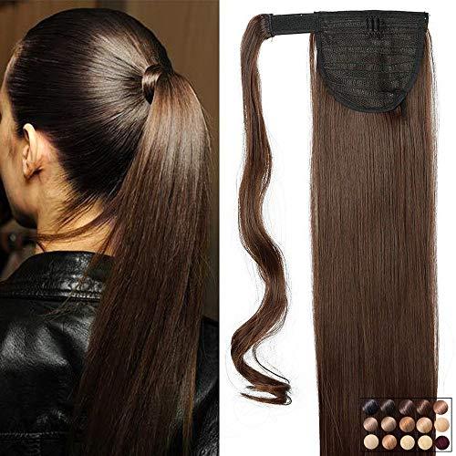 Elailite Extension Coda Capelli Lisci Coda di Cavallo Finta Clip in Hair Parrucchino Ponytail Wrap Around Extensions 66cm-135g, 4# Marrone Cioccolato