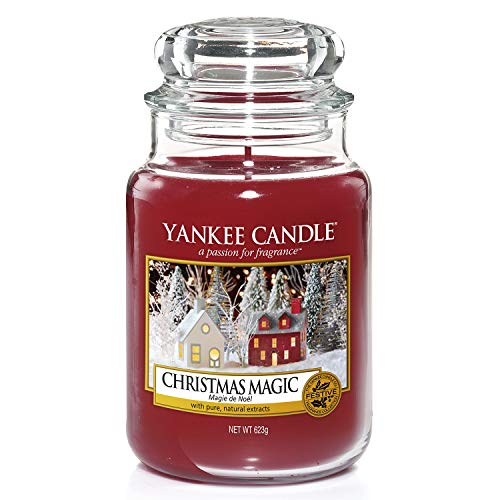 YANKEE CANDLE 1556286E Christmas Magic-Candela profumata, Multicolore, Giara Grande (10.7 x 16.8cm)