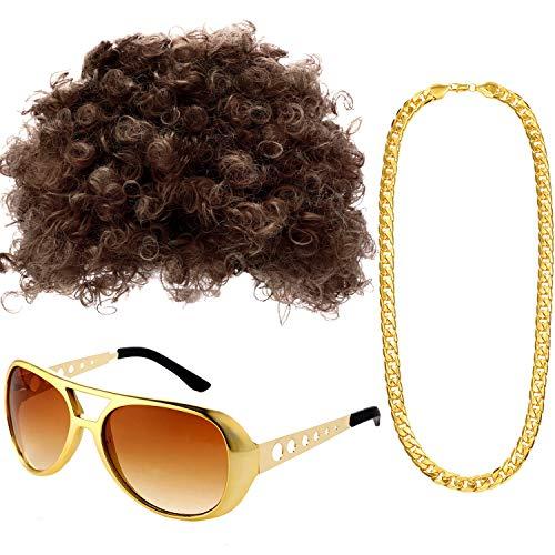 Gejoy Set di Costumi Hippie Parrucca Afro Collana Occhiali da Sole per Festa a Tema Anni 50/60/70 (Stile A)