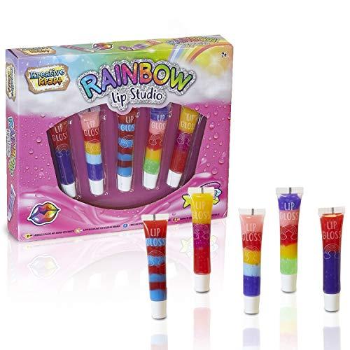 KreativeKraft Trucchi Bambina, Set Trucchi 5 Lucidalabbra Bambina, Set di Stick Balsamo Labbra, Trucco per Ragazze in Rainbow Beauty Box, Idee Regalo per Ragazze