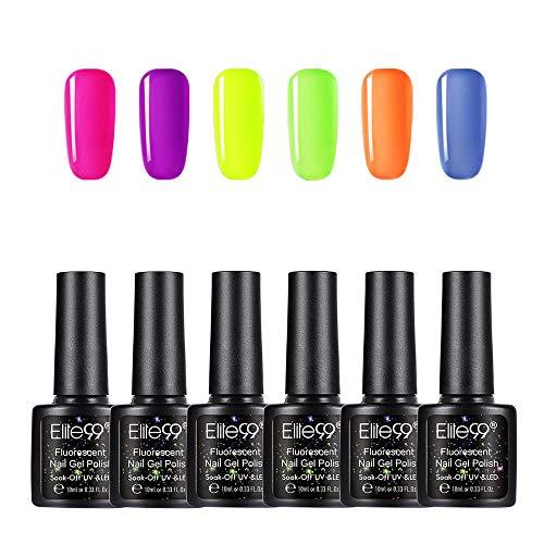 Elite99 Smalto per Unghie Set per manicure in Fluorescente Neon Luminoso Kit da 6pzs Nail Soak off UV LED Romantico Gel Semipermanente per Unghie Manicure Arte Set Kit,10ml YG002