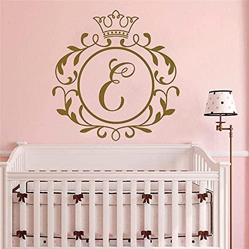 Combinazione lettera iniziale ragazza adesivo da parete ragazza decorazione della casa corona lettera iniziale camera da letto wall art S 57x59cm-M_77x80cm