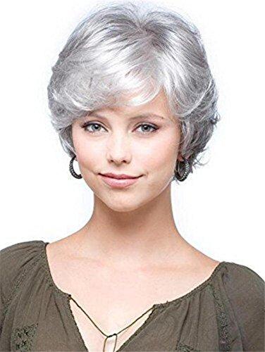 BeautyWig Corto Grigio Bianca Riccio Parrucca Naturale Ondulato Soffice scheggia Capelli per Vecchio in Mezzo età Donne e Nonna