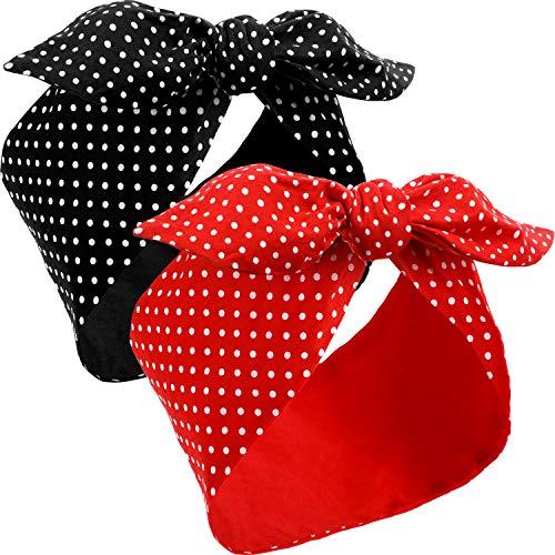 2 Pezzi Fasce per Capelli Costumi di Rosie The Riveter Cerchietti Rossi a Pois Fascia Capelli Vintage Retrò per Ragazze e Donne