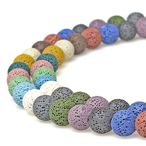 jartc Perline per Braccialetti Energetico Braccialetto Yoga Braccialetto Fai da Te Perle di Pietra Lava Multicolore Roccia Vulcanica 45 Pezzi con Perle di Chakra, 34CM,8 mm