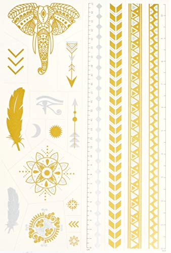 Set di Tatuaggi Temporanei della Tatsy, Set Festival, Luminoso Lucente Dorato, per Donna e Uomo, Design Unici ed Originali, Trame e Temi Sofisticati, Tatuaggi Impermeabili, Elefante, Frecce