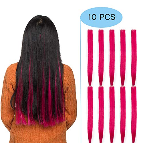 Elailite Extension Colorate 10 Ciocche Capelli Colorati Clip in Hair Lisci Rossi da Donna Bambina Cosplay Halloween Festa Posticci Lunghi 50cm Pesa 80g, Rosso Fucsia