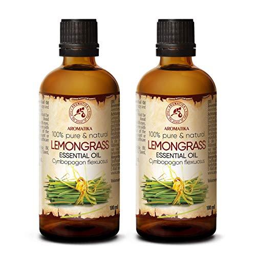 Lemongrass Olio Essenziale 2 x 100ml - Cymbopogon Flexuosus - India - 100% Naturale & Puro - Ideale per Aromaterapia - Massaggio - Aromaterapia Diffusore - Lampada Aroma - Bagno - SPA