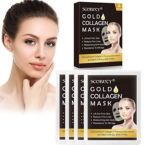 Collagene Maschera,24k Gold Collagen Face Mask,Maschera Viso Idratante,Maschera idratante lifting antinvecchiamento, confezione da 4