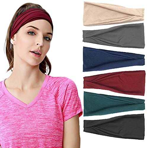 Confezione da 6 fasce per capelli da donna, stile boho, elasticizzate, per il fitness, per ragazze e donne