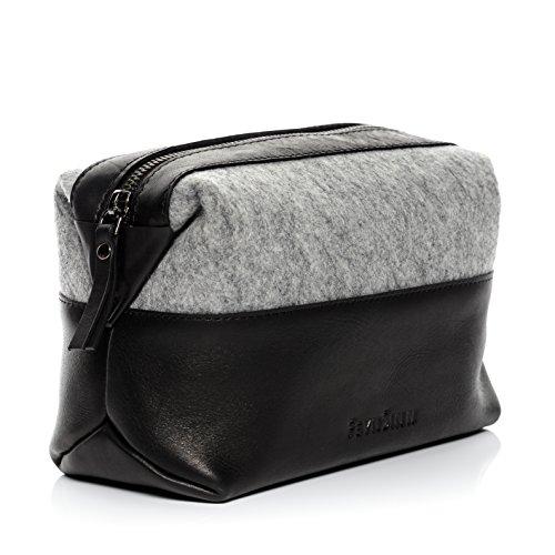 FEYNSINN® borsa toiletry vera pelle OSLO grande borsetta necessaire Toilette pochette beauty case da Viaggio uomo donna nero