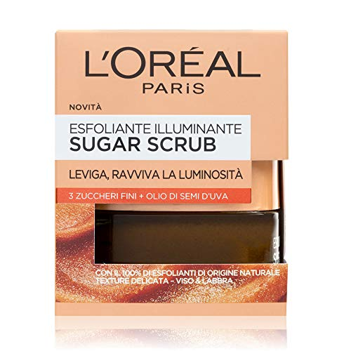 L'Oréal Paris Detergenza Sugar Scrub Esfoliante Illuminante Viso & Labbra con Cristalli Fini di Zucchero + Olio di Semi d'Uva, 50 ml