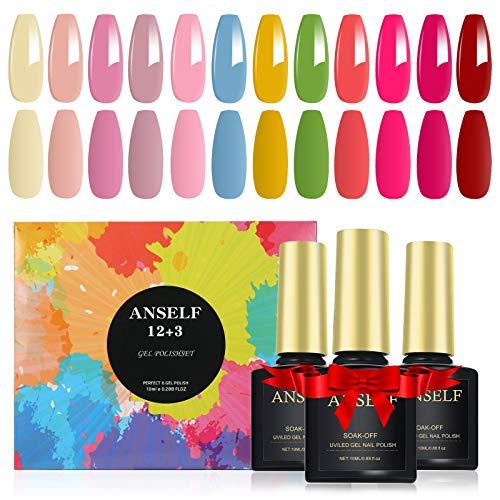 15 Pcs Smalto per Unghie Kit, 12 Colori * 10ML Smalto Semipermanente per Unghie con Base e Top Coat,Top Coat Opaco Soak Off Manicure Nail Art Kit