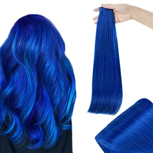 RUNATURE Capelli Extension Tape Extensions 18 Pollice Colore Blu Extension Capelli Human Hair 25g 20Pcs Extension Capelli Veri Biadesivo
