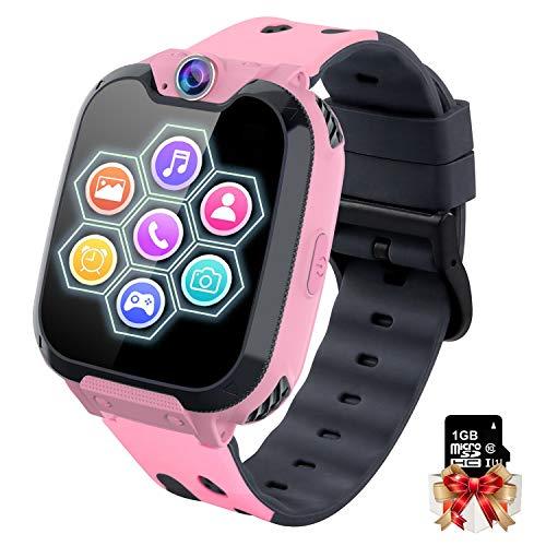 Smartwatch Bambini con Musica MP3 - Orologio Intelligente 7 Giochi, Orologio Intelligente Bambini con Telefono Allarme Camera, Regali per Ragazze Ragazzi Bambini Kids (W/ 1G SD Card), NO Need APP
