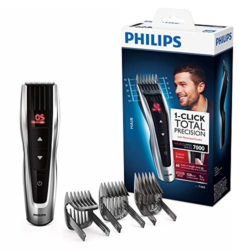 Philips Tagliacapelli HC7460/15 Serie 7000 Tagliacapelli con Pettini Motorizzati e Lame in Acciaio Inox, 60 Lunghezze